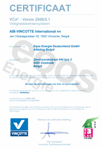 HSEQ EQOS Energie VCA Certfificate